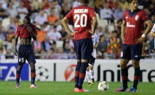Les joueurs de Lille, lors de la défaite du Losc vontre Valence 2-0 en Ligue des champions, le 2 octobre 2012.