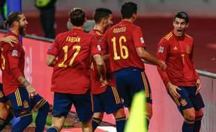 L'équipe d'Espagne lors de son match historique contre l'Allemagne, à Séville le 17 novembre 2020.