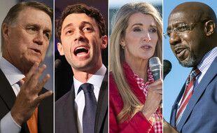 Les candidats aux deux sénatoriales de Géorgie, David Perdue, Jon Ossoff, Kelly Loeffler et Raphael Warnock.