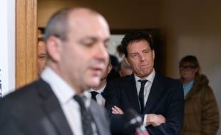 Laurent Berger (Cfdt) et  Geoffroy Roux de Bezieux (Medef) lors d'une conférence de presse le 30 janvier 2020.