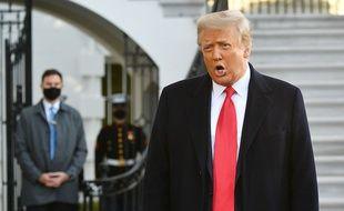 Donald Trump lors de son départ de la Maison blanche, ce mercredi.