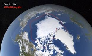 Une image satellite montre la diminution de la banquise en septembre 2019.