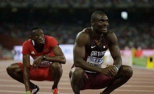 L'athlète qatarien Femi Ogunode, spécialiste du 200m, lors des Mondiaux de Pékin en août 2015.