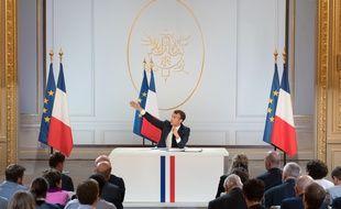 Emmanuel Macron le 25 avril 2019, lors de sa conférence de presse.