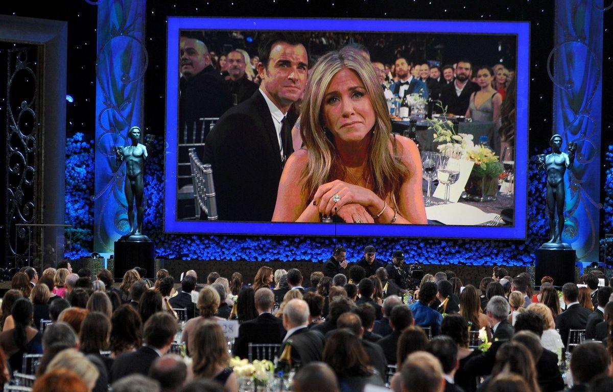 Apparition de Jennifer Aniston sur l'écran géant des SAG 2015 – Vice Bucci / Sipa