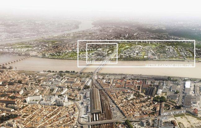 Image du projet d'aménagement du quartier Belvédère, sur la rive droite de la Garonne à Bordeaux
