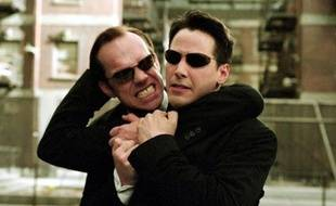 Keanu Reeves et Hugo Weaving dans «Matrix Reloaded»