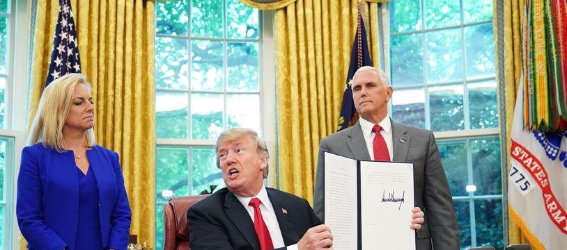 Donald Trump a signé un décret mettant fin à la séparation d'enfants de migrants, le 20 juin 2018.