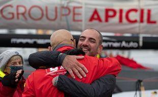 Le skipper Damien Seguin à son arrivée aux Sables d'Olonne jeudi 28 janvier 2021.