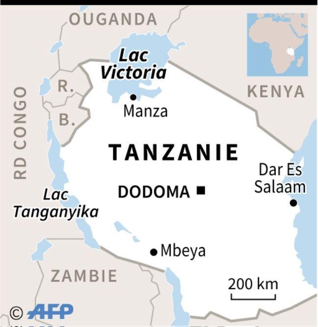 Carte de localisation du lac Victoria en Tanzanie, où plus de 100 personnes sont mortes jeudi 19 septembre 2018 lorsqu'un ferry a chaviré.