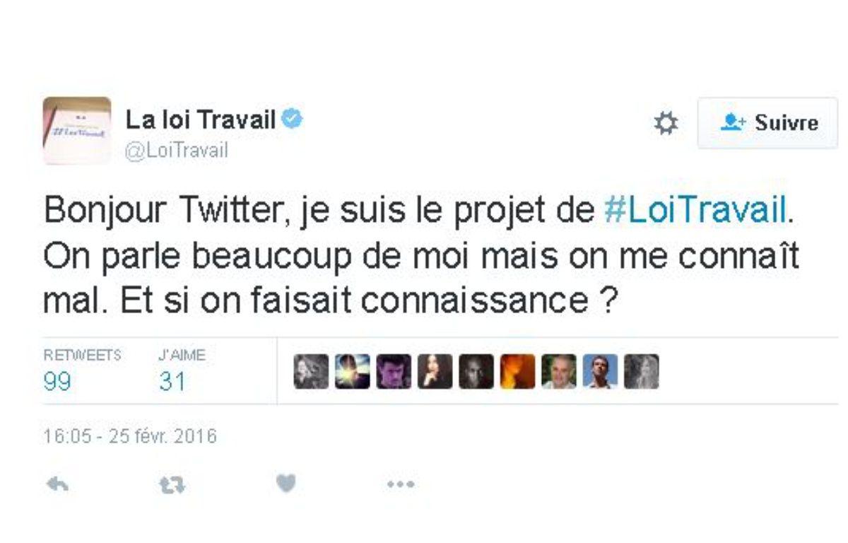 Premier tweet du compte @LoiTravail, le 25 février 2016. – TWITTER
