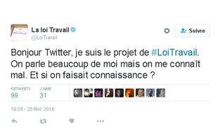 Premier tweet du compte @LoiTravail, le 25 février 2016.