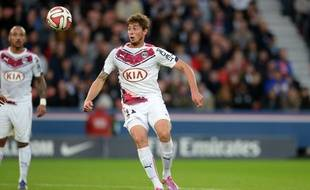 Emiliano Sala lors du match contre le Paris Saint Germain au Parc des Princes le 25 octobre 2014. JEFFROY GUY/SIPA/1410261833