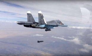 Une bombe larguée par un avion russe en Syrie, le 9 octobre 2015 (illustration).