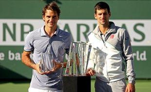 Roger Federer et Novak Djokovic, le 16 mars 2014, à Indian-Wells.