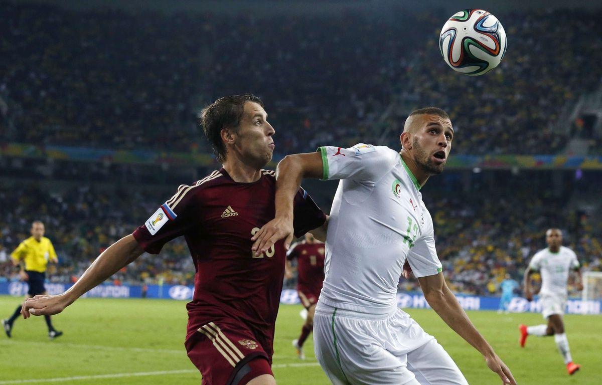 Islam Slimani, auteur du but de la qualification pour l'Algérie contre la Russie, le 26 juin 2014. – Jon Super/AP/SIPA