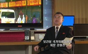 Un responsable du ministère de la Santé nord-coréen s'exprime à la télévision officielle sur les mesures prises contre le coronavirus, le 21 janvier 2020.