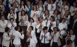 Des élues démocrates vêtues de blanc au Congrès pour le discours sur l'état de l'Union, le 5 février 2019.