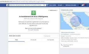 Capture écran de Facebook «Safety Check» en Italie, le 24 août 2016.