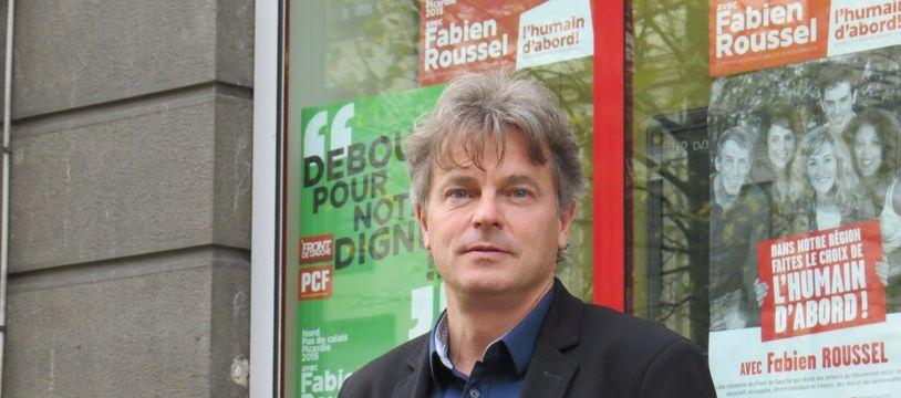 Lille, le 2 novembre 2015 - Portrait de Fabien Roussel, candidat PCF aux elections regionales.