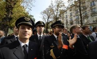 Rassemblement des pilotes d'Air France le 23 septembre 2014 devant l'Assemblée nationale à Paris