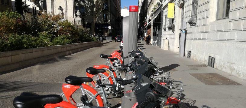 Illustration des vélo'V à Lyon.