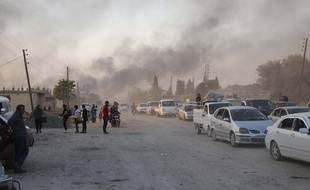 Ras al Ayn dans le nord de la Syrie lors de l'attaque turque le 9 octobre 2019.