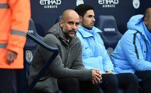 Pep Guardiola sur le banc de Manchester City, le 6 mai 2019.