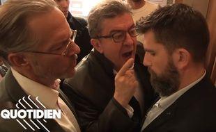 « La République, c'est moi ! », a clamé Jean-Luc Mélenchon face à un policier lors de la perquisition du siège de La France insoumise, le 18 octobre 2018.