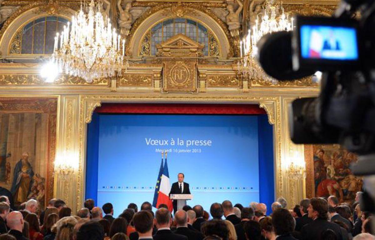 François Hollande lors de ses voeux à la presse, le 16 janvier 2013 à l'Elysée. – MIGUEL MEDINA / AFP