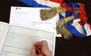 Illustration sur le formulaire de parrainage des candidats a l'élection présidentielle.