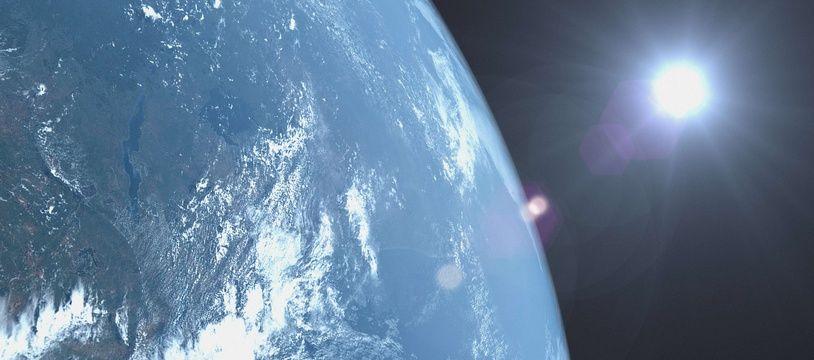 La Terre vue d'un satellite. Illustration.