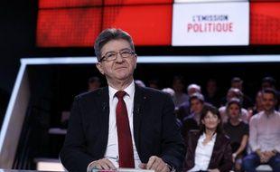 """Jean-Luc Mélenchon, candidat de France insoumise sur le plateau de """"L'Emission politique"""" le 23 février 2017 à Paris"""
