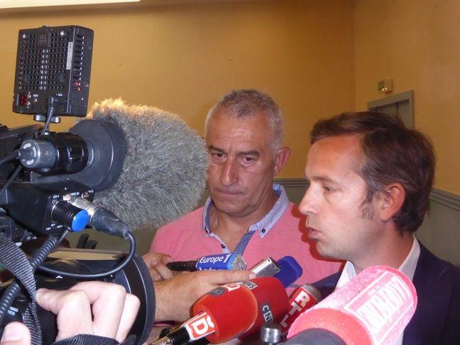 Christophe Rodriguez et Frédéric Carol, l'avocat du club, le 16 mai 2017 au tribunal administratif de Toulouse.