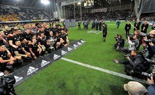 La Nouvelle-Zélande après sa victoire contre l'Australie lors du Rugby Championship, le 27 août 2017.