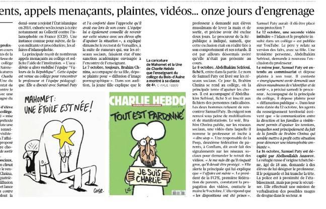 Article du Figaro avec la reproduction de deux caricatures de Mahomet