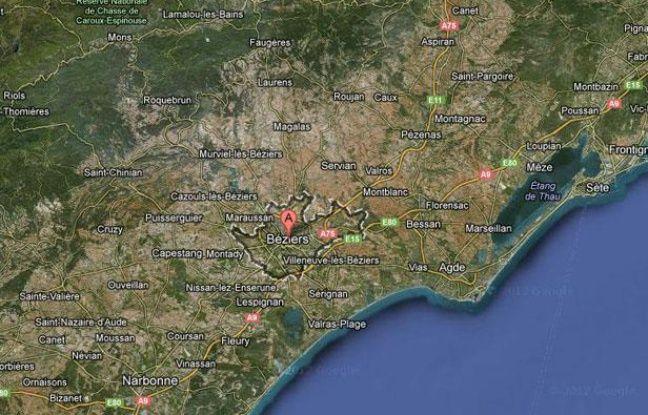 Vue Google Maps de la ville de Béziers (Hérault).