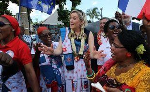 La presidente du Rassemblement National Marine Le Pen arrive en outre-mer pour une visite de 2 jours a Mayotte dans le cadre des elections europeennes.
