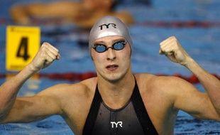 Le Français Amaury Leveaux, lors des championnats d'Europe de natation en petit bassin à Rijeka (Croatie), après sa victoire et son record du monde en demi-finale du 100m nage libre.