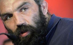 Le rugbyman SébastienChabal lors de l'annonce de sa retraite, le 5 mai 2014, à Lyon.