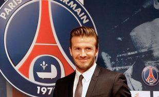 Première conférence de presse de David Beckham, nouveau joueur du PSG, le 31 janvier 2013.