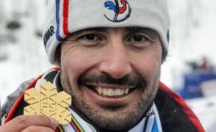 Jean-Baptiste Grange avec sa médaille d'or le 15 février 2015 à Beaver Creek au Colorado