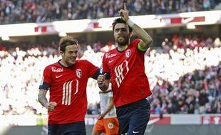 Les deux buteurs lillois contre Montpellier, Marco Basa et Nolan Roux.