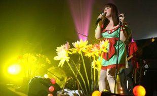 Concert de la chanteuse Luce, ex-Nouvelle Star, dans une salle de projection du Cinema MK2 Quai de Seine à Paris le 9 juin 2011