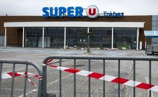 Le super U de Trèbes, dans l'Aude, où a eu lieu une attaque terroriste le 23 mars 2018.