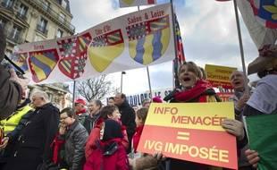 Le 19 janvier 2014. Le collectif La Marche pour la vie appelle a manifester a Paris, a la veille d'un debat a l'Assemblee nationale et encourage par la decision de l'Espagne de restreindre le droit a l'interruption volontaire de grossesse (IVG).