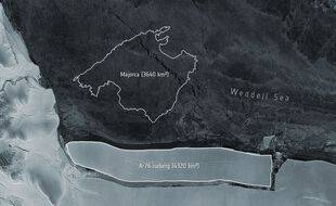 Sur cette image de l'Agence spatiale européenne, on peut voir l'iceberg le plus gros du monde se détacher de l'Antarctique.