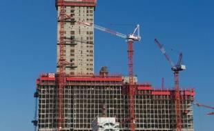 Le nouveau palais de justice de la zone de développement urbain Clichy-Batignolles en cours de construction dans le nord-ouest de Paris, le 21 janvier 2016