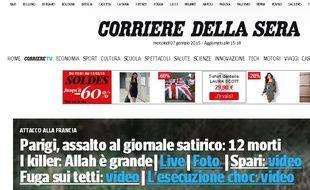Capture d'écran du site italien du Corriere della Sera.