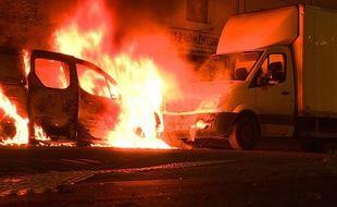 Incendies criminels de voitures quartier Malakoff à Nantes.